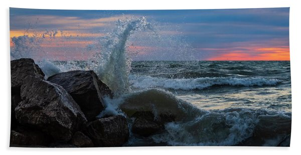 Wave Vs Rock Beach Towel