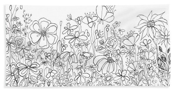 Whimsical Flower Garden, Line Art Doodles Beach Sheet