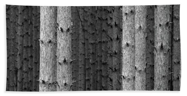 White Pines Black And White Beach Towel