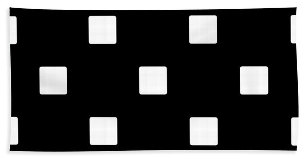 White Squares On A Black Background- Ddh576 Beach Sheet