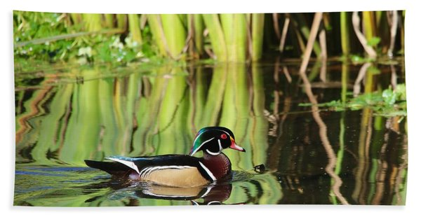Wood Duck Reflection 1 Beach Towel