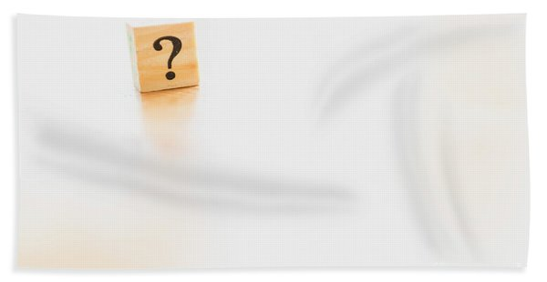 Wooden Dice With Question Mark And Doubt. Beach Towel