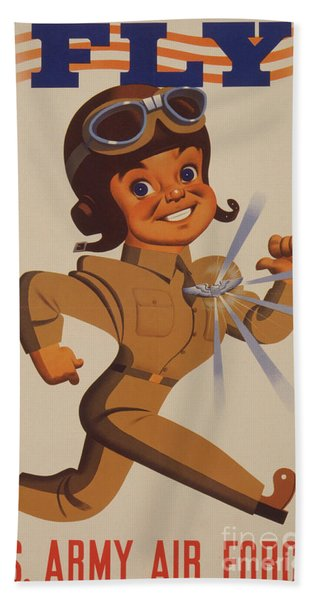 World War II Recruitment Poster  Fly  Us Army Air Forces, 1942  Beach Towel