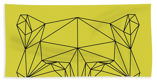Yellow Raccoon Polygon Beach Towel