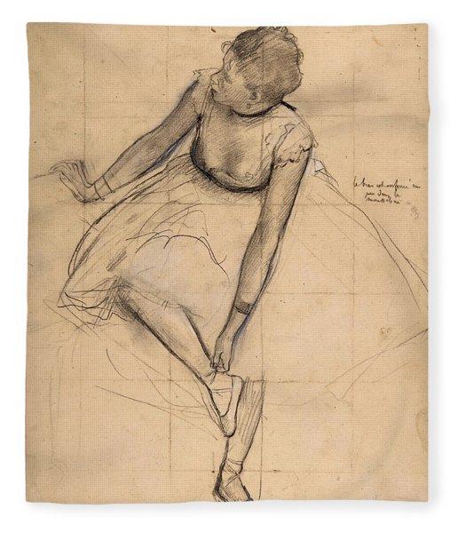Dancer Adjusting Her Slipper Fleece Blanket