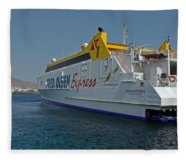 Ferry In Corralejo Harbour Fleece Blanket