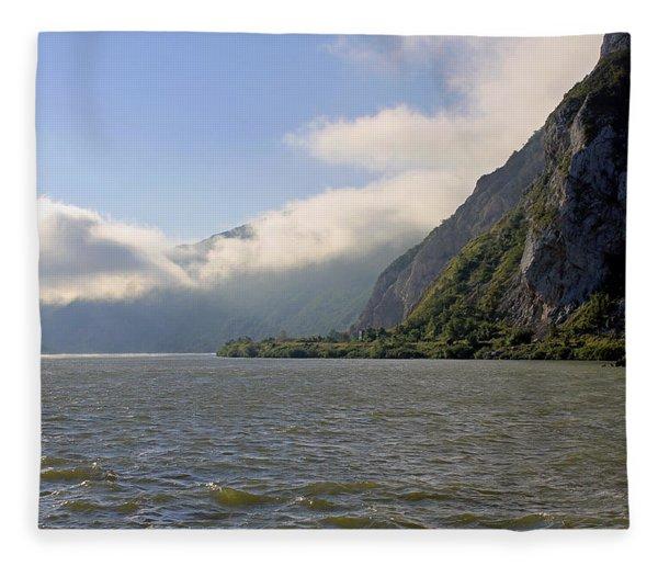 Morning Clouds On The River Danube  Fleece Blanket