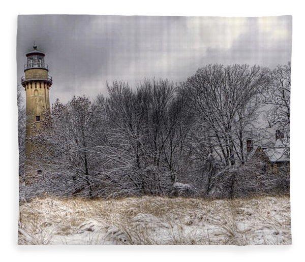 0243 Grosse Point Lighthouse Evanston Illinois Fleece Blanket