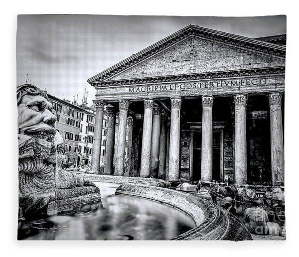 0786 The Pantheon Black And White Fleece Blanket