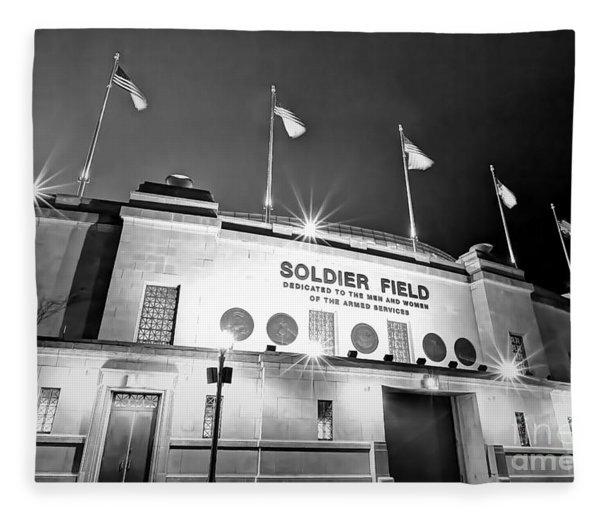 0879 Soldier Field Black And White Fleece Blanket