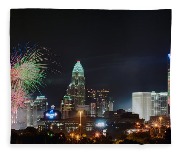 Fleece Blanket featuring the photograph 4th Of July Firework Over Charlotte Skyline by Alex Grichenko