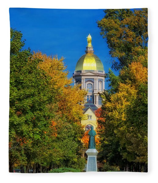 Autumn On The Campus Of Notre Dame Fleece Blanket