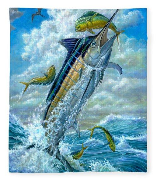 Big Jump Blue Marlin With Mahi Mahi Fleece Blanket