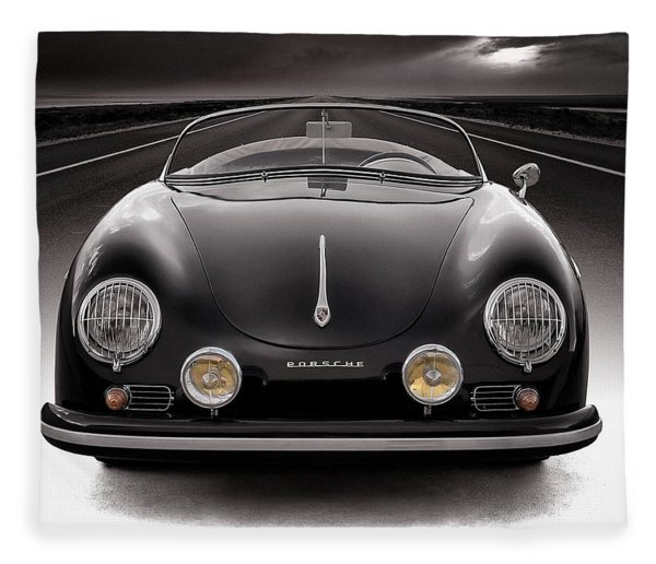 Black Porsche Speedster Fleece Blanket