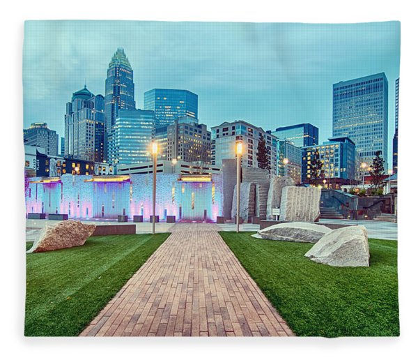 Fleece Blanket featuring the photograph Charlotte City Skyline In The Evening by Alex Grichenko