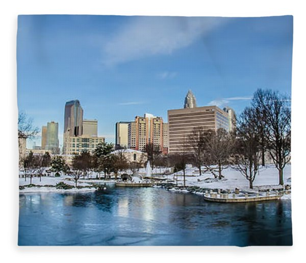 Fleece Blanket featuring the photograph Charlotte Downtown by Alex Grichenko