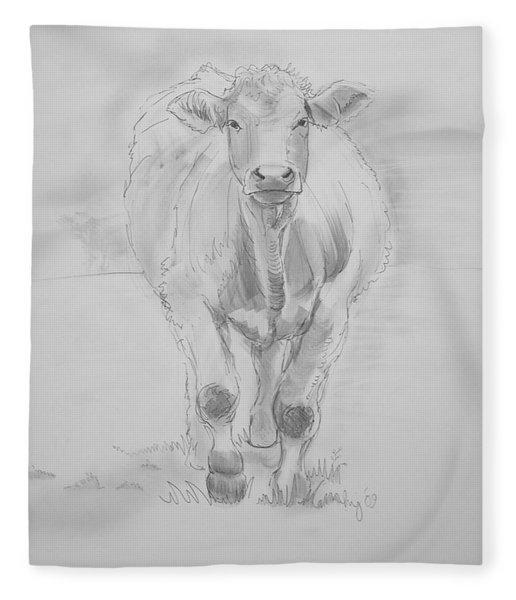 Cow Drawing Fleece Blanket