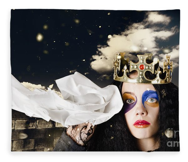Crying Fairytale Queen Wiping Tears With Tissue Fleece Blanket
