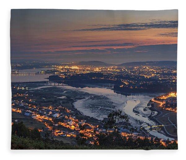 Ferrol's Ria Panorama From Mount Ancos Galicia Spain Fleece Blanket