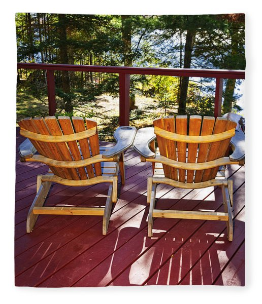 Forest Cottage Deck And Chairs Fleece Blanket