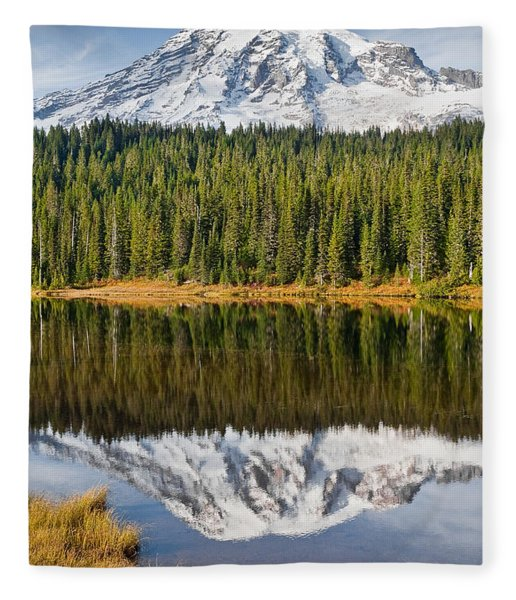 Mount Rainier And Reflection Lakes In The Fall Fleece Blanket