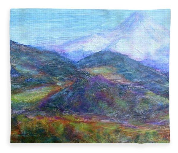 Mountain Patchwork Fleece Blanket