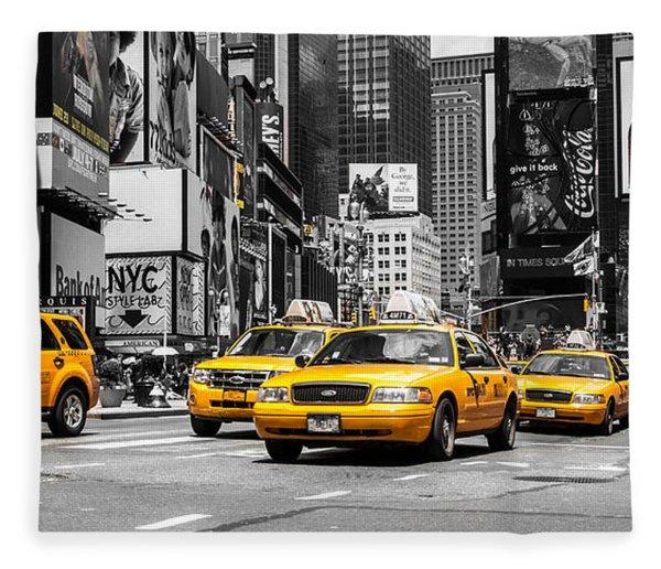 Nyc Yellow Cabs - Ck Fleece Blanket