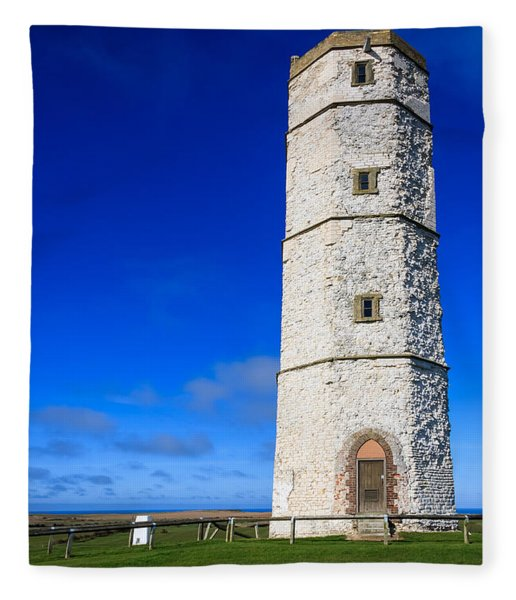 Old Lighthouse Flamborough Fleece Blanket