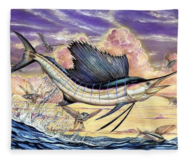 Sailfish And Flying Fish In The Sunset Fleece Blanket