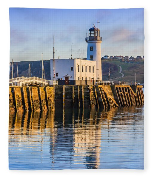Sunset Over Scarborough Lighthouse Fleece Blanket