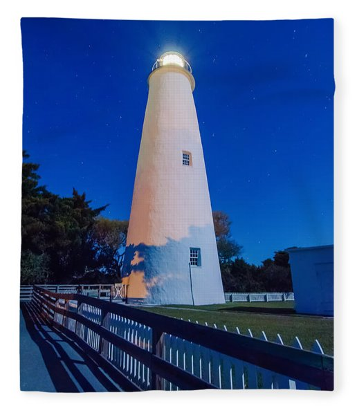Fleece Blanket featuring the photograph The Ocracoke Lighthouse On Ocracoke Island On The North Carolina by Alex Grichenko