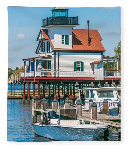 Fleece Blanket featuring the photograph Town Of Edenton Roanoke River Lighthouse In Nc by Alex Grichenko