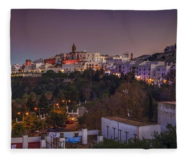 Vejer De La Frontera Panorama Cadiz Spain Fleece Blanket