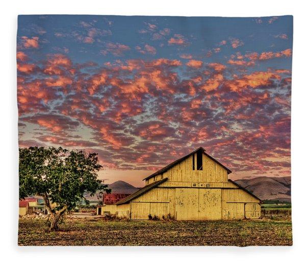 Yellow Barn Fleece Blanket