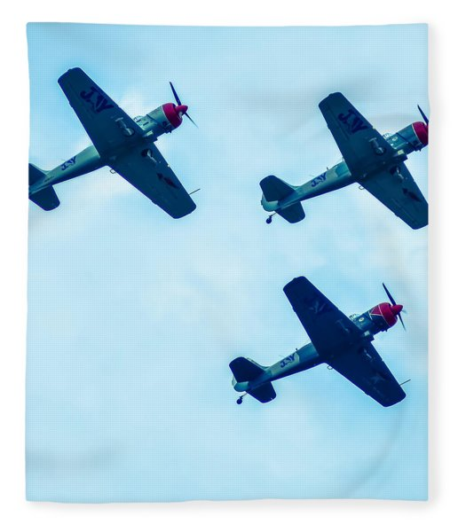 Fleece Blanket featuring the photograph Action In The Sky During An Airshow by Alex Grichenko