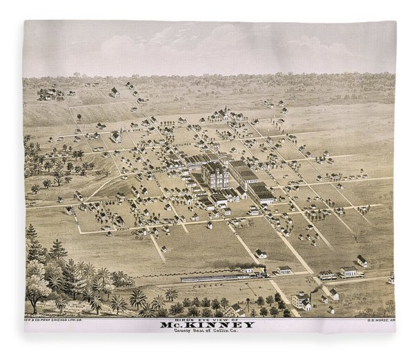 1876 Birds Eye Map Of Mckinney Texas Fleece Blanket