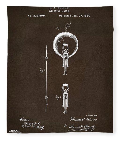1880 Edison Electric Lamp Patent Artwork Espresso Fleece Blanket