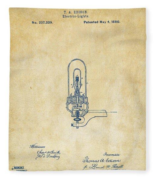 1880 Edison Electric Lights Patent Artwork - Vintage Fleece Blanket