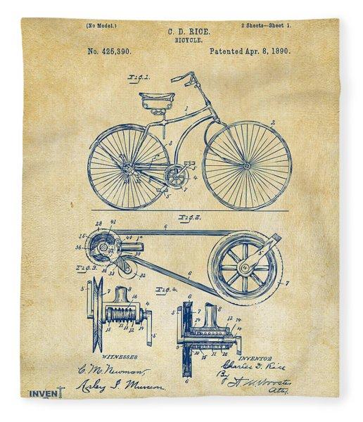 1890 Bicycle Patent Artwork - Vintage Fleece Blanket