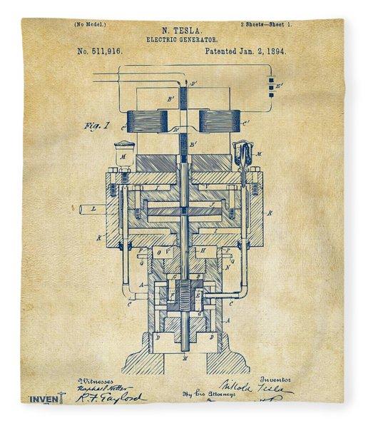 1894 Tesla Electric Generator Patent Vintage Fleece Blanket