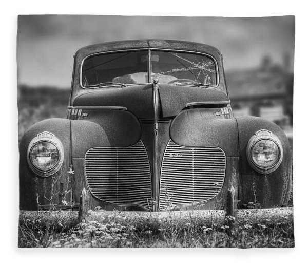1940 Desoto Deluxe Black And White Fleece Blanket