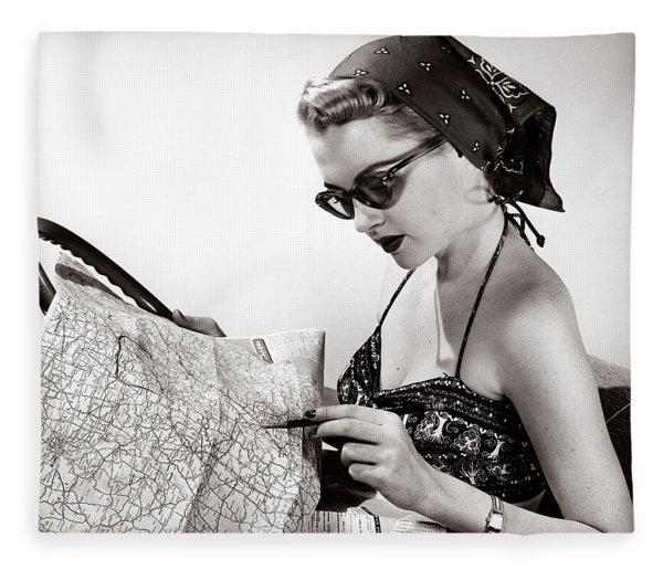 1950s Woman Wearing Bandana Sunglasses Fleece Blanket
