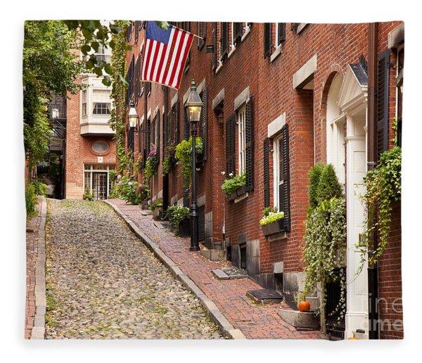 Fleece Blanket featuring the photograph Acorn Street Boston by Brian Jannsen