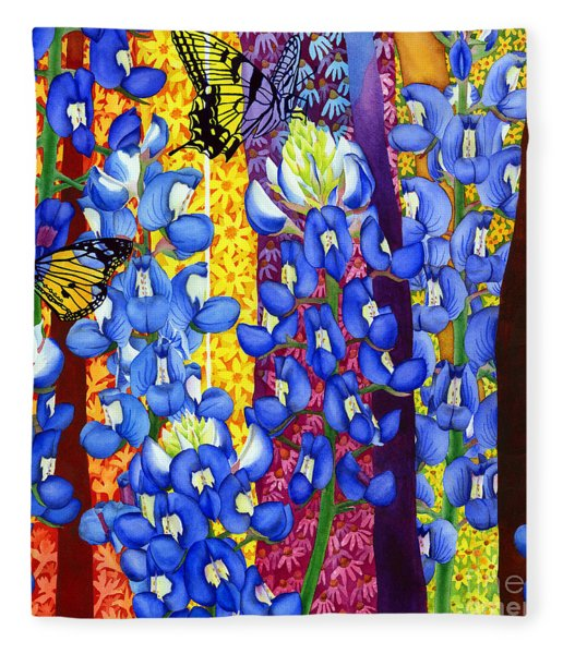 Bluebonnet Garden Fleece Blanket