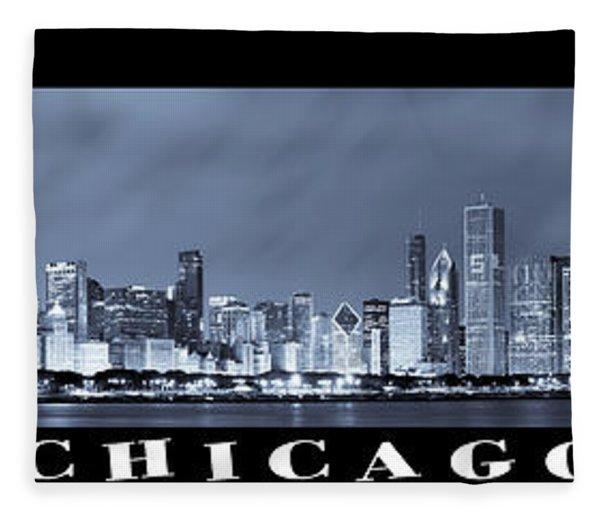 Chicago Skyline At Night Fleece Blanket