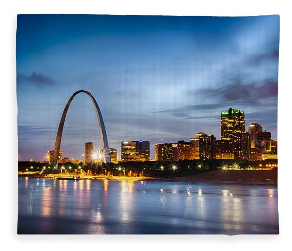 Fleece Blanket featuring the photograph City Of St. Louis Skyline. Image Of St. Louis Downtown With Gate by Alex Grichenko