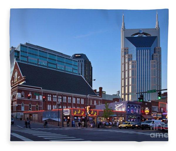 Fleece Blanket featuring the photograph Downtown Nashville by Brian Jannsen