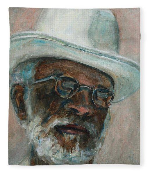Gray Beard Under White Hat Fleece Blanket