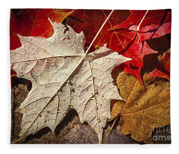Maple Leaves In Water Fleece Blanket