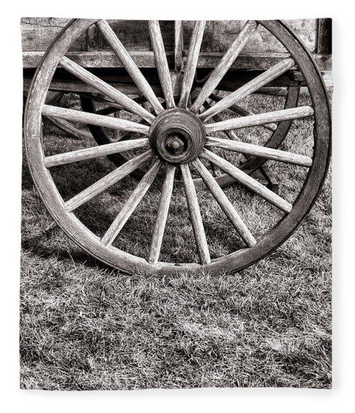 Old Wagon Wheel On Cart Fleece Blanket